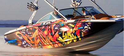 custom boat graphics and boat vinyl wrap can be done at the same time and designer can control the process to make sure that you will receive exact what
