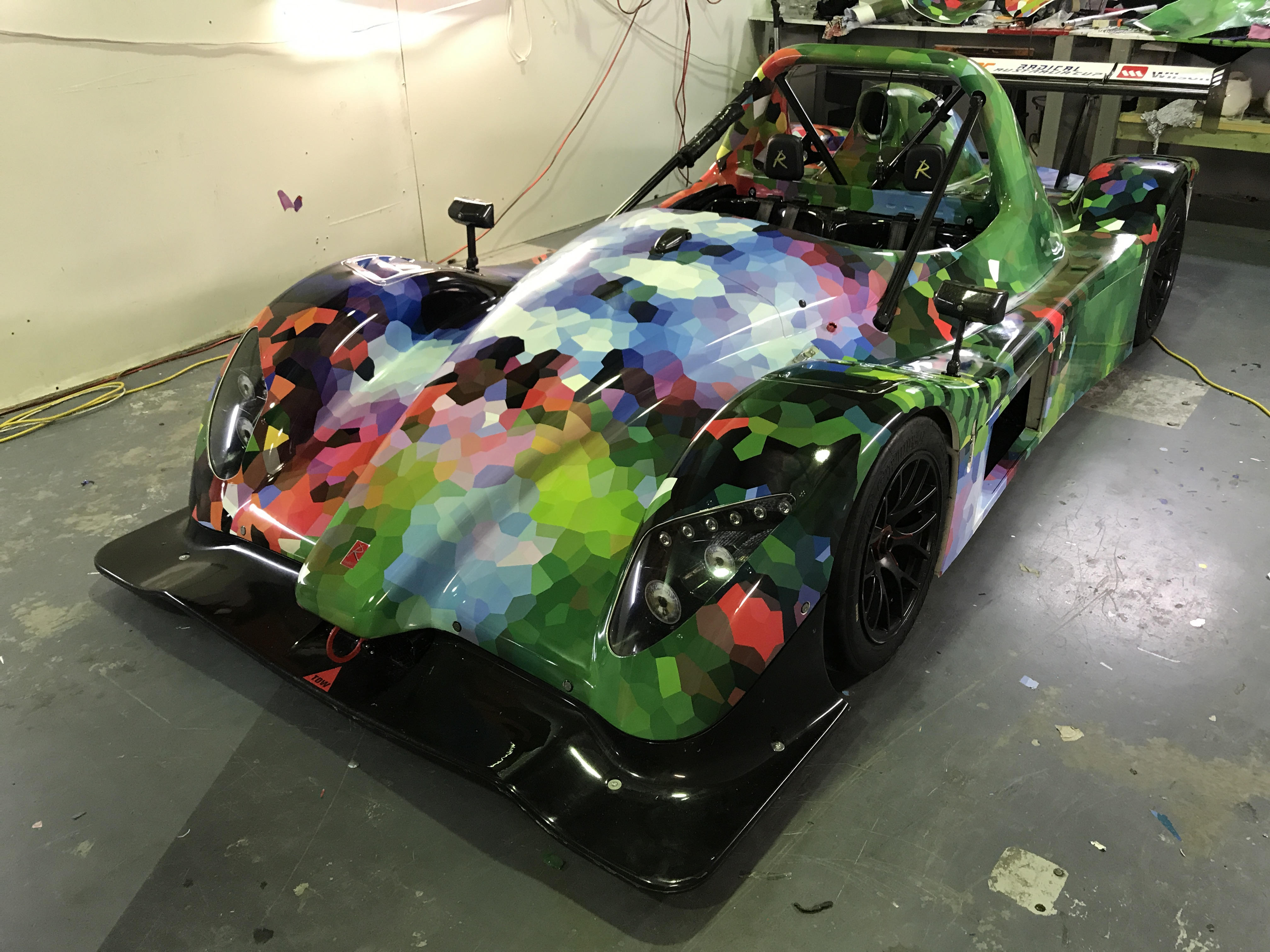 Radical car wrapped in custom print design.